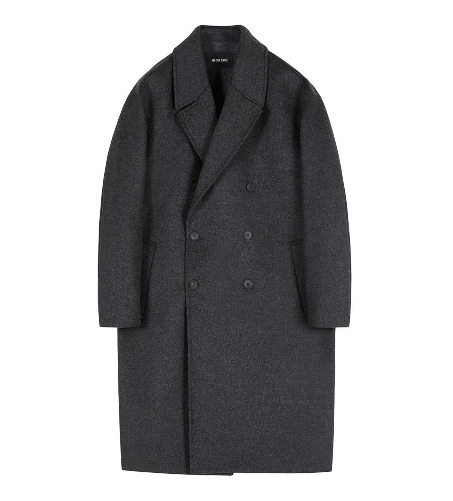 인사일런스(INSILENCE) DOUBLE OVERSIZE CASHMERE COAT (charcoal)